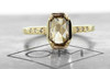 MAROA .93 carat fancy-cut, champagne diamond ringin our signature square setting, set in 14kyellow  gold. with four 1.2mm champagne diamonds in each corner of main setting.New classic collection