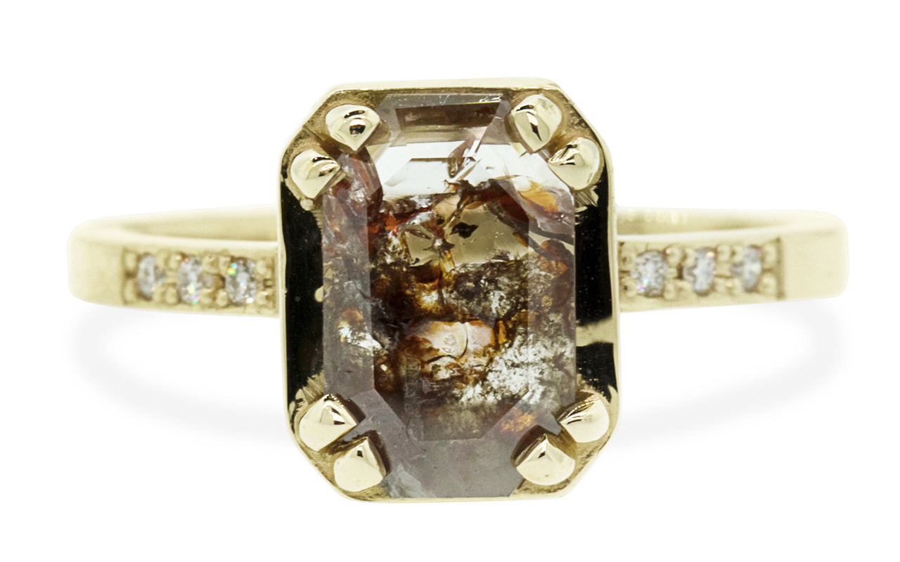 MAROA 1.07 carat  fancy-cut translucent rustic cognac diamond ring set in our signature square setting, set in 14k yellow gold. With ten 1.2mm brilliant white diamonds set into notched band and in each corner of main setting. Part of our New Classic Collection. Front view on white background