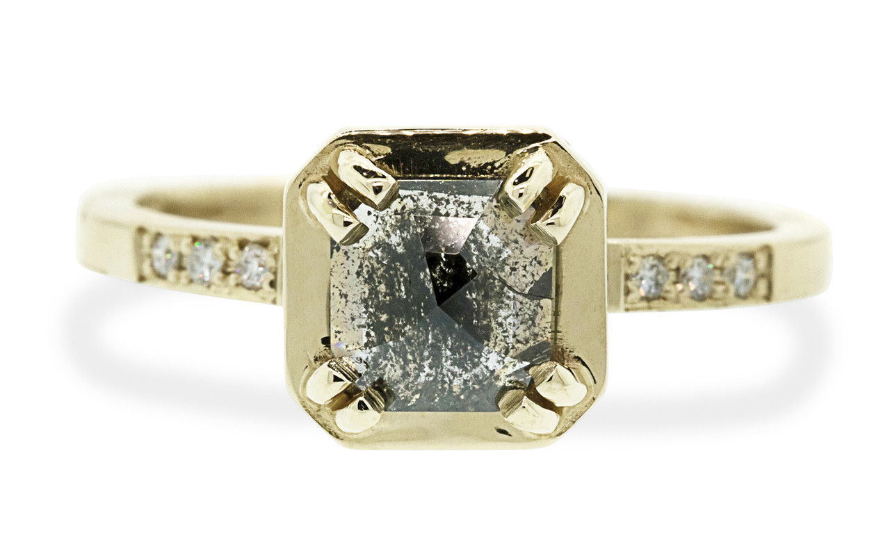 MAROA .93 carat rose-cut translucent salt and pepper diamond ring set in our signature square setting, set in 14k yellow gold. With ten 1.2mm brilliant white diamonds set in notched band and each corner of main setting. Part of our New Classic Collection. Front view on white background