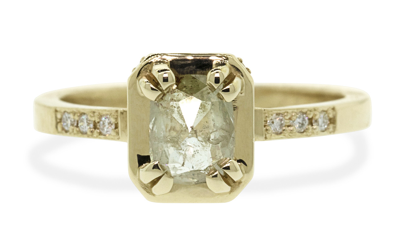 MAROA .71 carat rectangular, rose-cut translucent light champagne diamond ring set in our signature square setting, set in 14k yellow gold. With ten 1.2mm brilliant white diamonds set in notched band and each corner of main setting. Part of our New Classic Collection. Front view on white background
