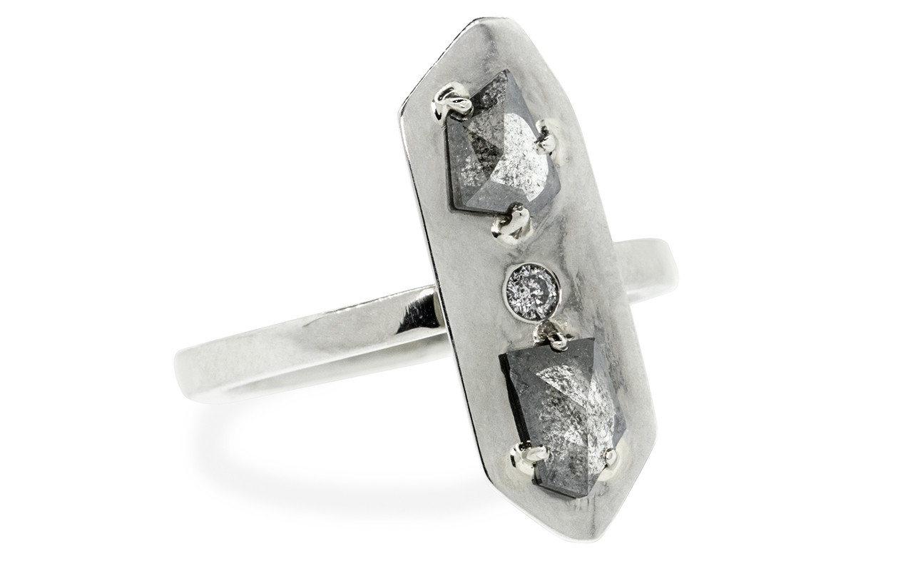 TOBA .57 carat fancy rose-cut translucent salt and pepper diamonds with one 2mm gray pave diamond set in 14k white gold flat band. Part of our New Classic Collection.  3/4 view on white background
