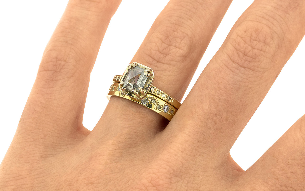 """MAROA one-of-a-kind, fancy-cut, 1.41 carat """"salt and pepper"""" diamond set in our New Classic setting. 1.2mm, brilliant champagne diamonds set into the 14k recycled yellow gold 2mm notched band. With Wedding Band with Organic Pave Diamonds in Yellow Gold. This 14k yellow gold band measures 4mm wide and 1.5mm thick and stacks. 2mm brilliant gray diamonds and 1.2mm brilliant, champagne diamonds are bead set in an organic pattern around the entire ring on a hand. Part of our New Classic Collection."""