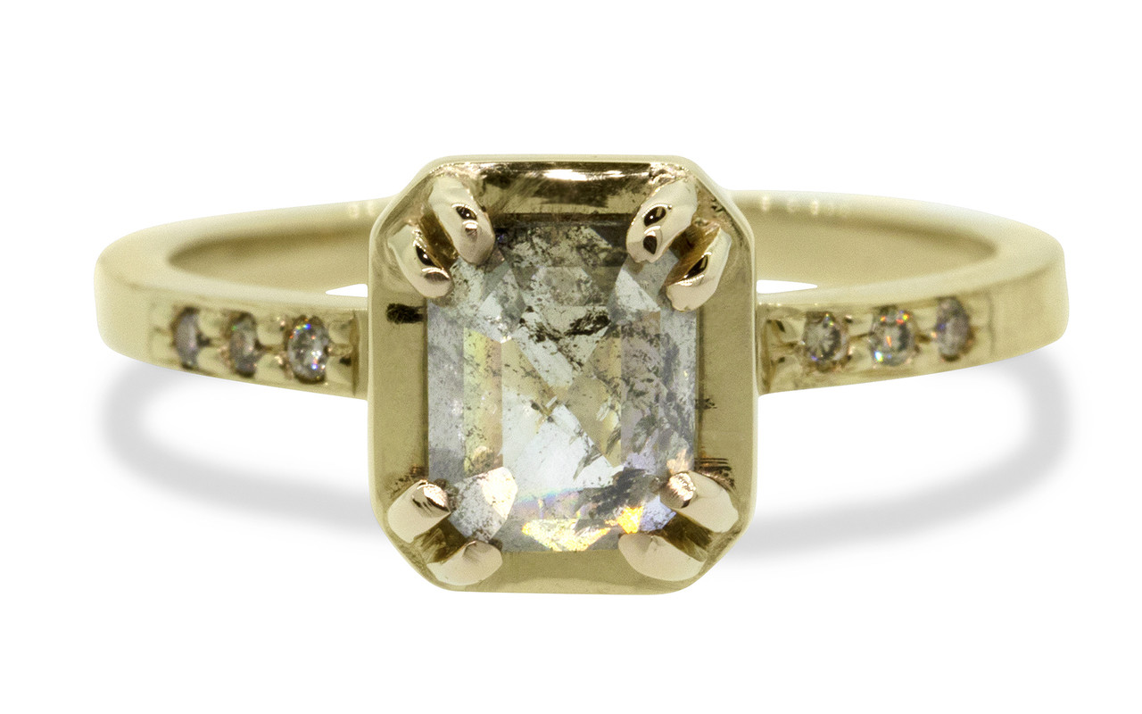 """MAROA one-of-a-kind, fancy-cut, 1.41 carat """"salt and pepper"""" diamond set in our New Classic setting. 1.2mm, brilliant champagne diamonds set into the 14k recycled yellow gold 2mm notched band. Part of our New Classic Collection. Front view on white background"""