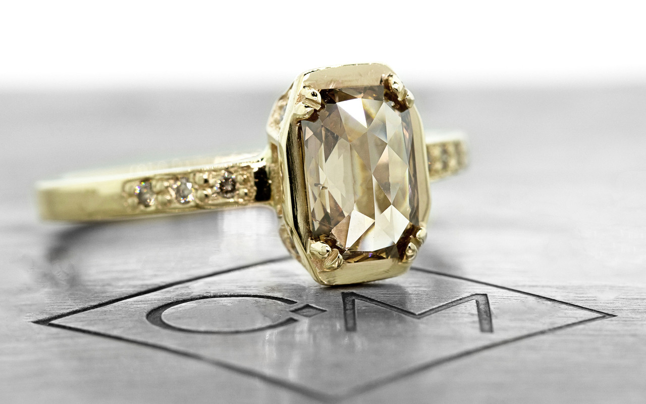 MAROA .93 carat fancy-cut, champagne diamond ringin our signature square setting, set in 14kyellow  gold. with four 1.2mm champagne diamonds in each corner of main setting.  Part of our New Classic Collection.