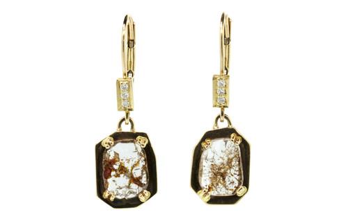EDZIZA Earrings in Yellow Gold with 1.08 Carat Cognac and White Diamonds