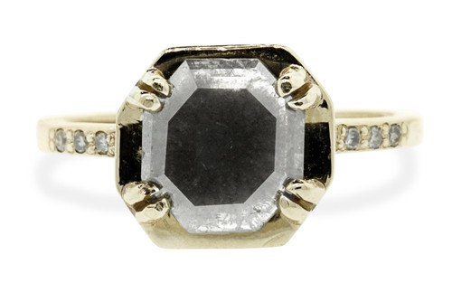 MAROA 1.27 carat octagon, rose-cut, gray diamond ring set in our signature square setting, set in 14k yellow gold. With ten 1.2mm brilliant gray diamonds set in notched band and each corner of main setting.