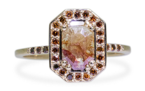 KATLA New Classic .60 carat fancy cut cognac champagne diamond prong set in octangualr  14k yellow gold setting with brilliant, cognac diamonds surround the center diamond in a halo as well as each corner of the setting and each shoulder of the ring.