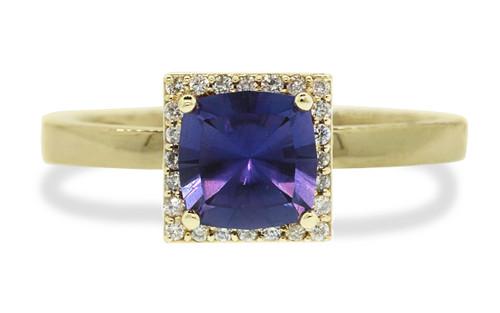 1.38 Carat GIA Purple Sapphire Ring with White Diamond Halo