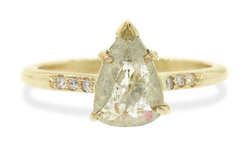 1.31 carat pear, rose cut textured champagne prong set diamond ring set in 14k yellow gold with six 1.2mm brilliant white diamonds in 1/2 round band. Front view on white background