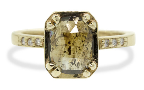 MAROA 1.42 carat oval rose-cut rustic speckled cocoa diamond ring set in our signature square setting, set in 14k recycled yellow gold. With ten 1.2mm brilliant white diamonds set in notched band and each corner of main setting. Part of our New Classic Collection. Front view on white background