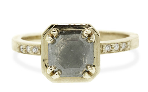 MAROA .97 carat fancy-cut gray diamond ring set in our signature square setting, set in 14k yellow gold. With ten 1.2mm brilliant white diamonds set in notched band and each corner of main setting. Part of our New Classic Collection. Front view on white background