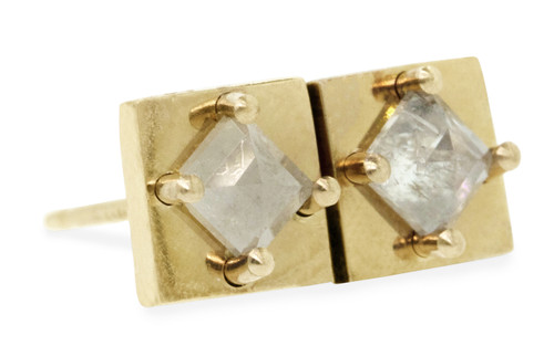 TOBA Earrings in Yellow Gold with .41 Carat Light Gray Diamonds