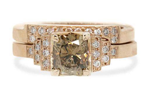1.06 Carat Dark Champagne Diamond Wedding Set in Rose Gold