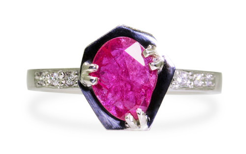 KIKAI .84 carat ruby in 14k white gold six 1.2mm brilliant white diamonds set in band front view on white background from New Classic Collection