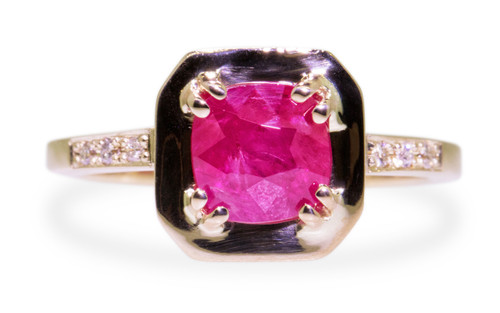 KIKAI 1.59 carat ruby in 14k yellow gold six 1.2mm brilliant white diamonds set in band front view on white background from New Classic Collection