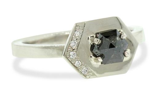 TOBA Ring in White Gold with .34 Carat Natural Black Diamond