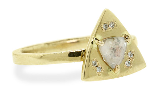 TOBA .35 carat triangle rose-cut natural pinkish diamond ring with six 1mm brillaint white diamonds bead set into each corner of main setting set in 14k yellow gold flat band. Part of our New Classic Collection. Front view on white background