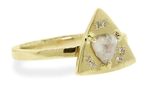 TOBA Ring in Yellow Gold with .35 Carat Pinkish Diamond