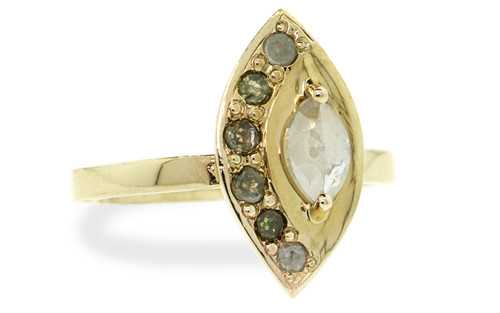 TOBA .46 carat marquise rose-cut rustic icy white diamond ring with six 2.5mm brilliant diamonds of mixed colors set into edge of main setting set in 14k yellow gold flat band. Part of our New Classic Collection. Front view on white background
