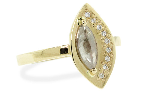 TOBA Ring in Yellow Gold with .54 Carat Light Gray Diamond