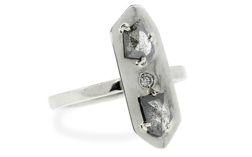 TOBA Ring in White Gold with .57 Carat Salt and Pepper