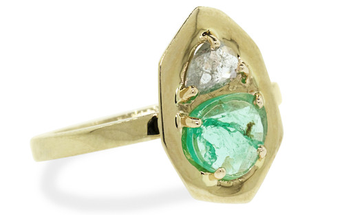 SANTORINI .50 carat icy white diamond .55 carat pepper emerald in 14k yellow gold flat band front view on white background from New Classic Collection