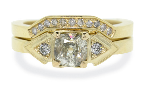 .85 Carat Champagne Diamond Wedding Set in Yellow Gold