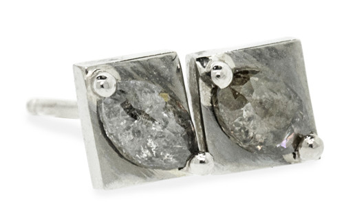 TOBA .37 carat rose cut salt and pepper diamond stud earrings set in 14k white gold. Part of our New Classic Collection. Front view on white background