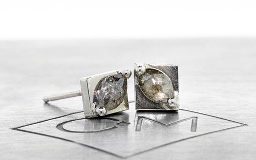 98a010efe2599 TOBA Stud Earrings in White Gold with .37 Carat Salt and Pepper Diamonds