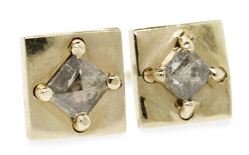 TOBA Stud Earrings in Yellow Gold with .19 Carat Light Gray Diamonds