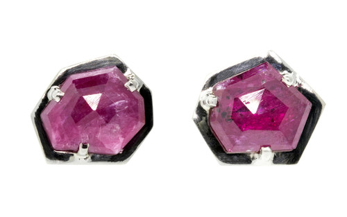 KIKAI 3.35 carat free form rose cut ruby stud earrings set in 14k white gold. Part of our New Classic Collection. Front view on white background