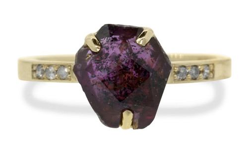 2.78 Carat Hand-Cut Ruby Ring in Yellow Gold