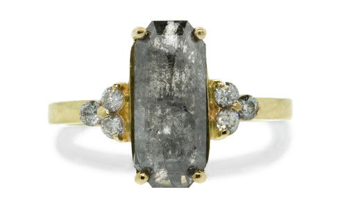 3.18 carat rectangular, rose-cut diamond perfect salt and pepper prong set diamond ring with six 2mm brilliant gray diamond clusters on either side of main setting and 14k recycled yellow 2mm flat gold band. Front view on white background