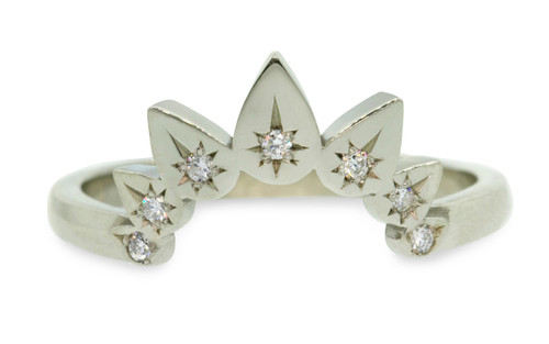 """Pear shadow band with seven 1.2mm brilliant white diamonds set in """"star"""" settings. Comes in 14k recycled yellow, rose, and white gold options. Front view on white background"""