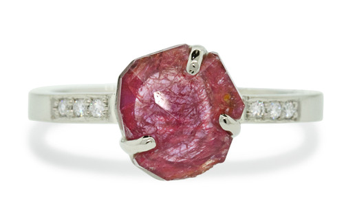 1.68 Carat Hand-Cut Ruby Ring in White Gold