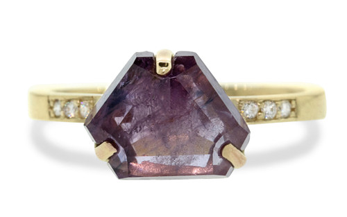 3.63 Carat Hand-Cut Purple Sapphire Ring in Yellow Gold