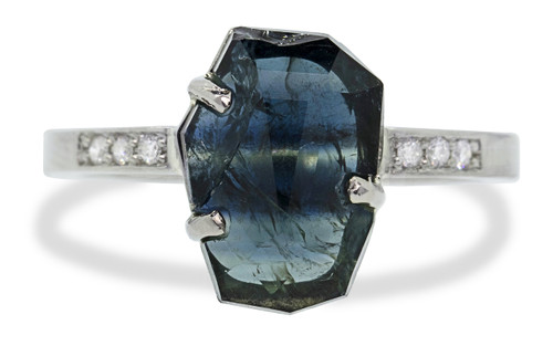3.34 Carat Hand-Cut Sapphire Ring in White Gold