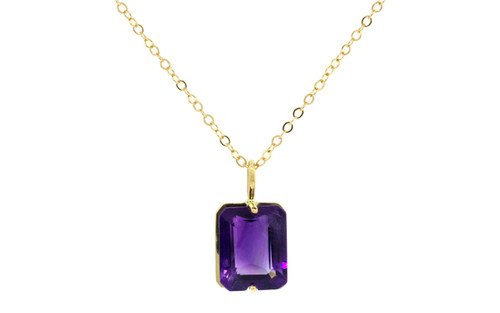 3.04 Carat Amethyst Necklace in Yellow Gold