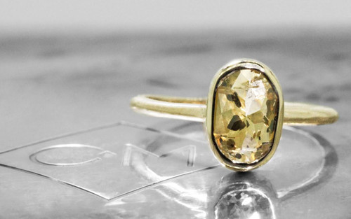 2 23 Carat Champagne and Pepper Diamond Ring in Yellow Gold