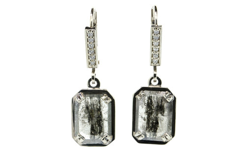 EDZIZA Earrings in White Gold with 2.47 Carat Striped Salt and Pepper Diamonds