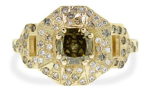 VESUVIO Ring in Yellow Gold with 1.63 Carat Champagne Center Diamond