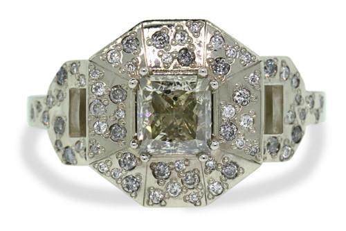 VESUVIO Ring in White Gold with 1.15 Carat Light Champagne Center Diamond