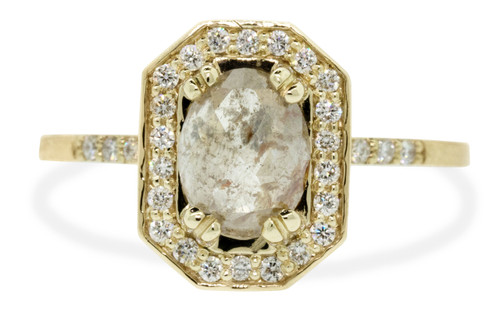 KATLA Ring in Yellow Gold with 1.53 Carat Glowing Gray and Peach Diamond