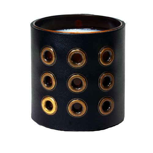 Grommeted - Leather wrapped designer gift candle - Black