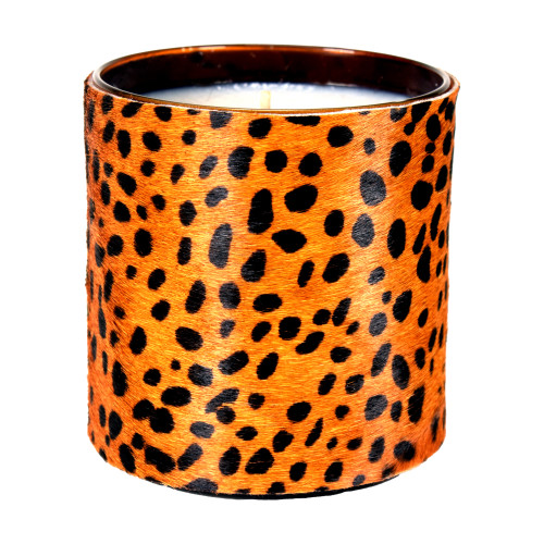 Designer, candle, luxury,  cow, hair, fur  scented, gift, leather, high end, quality, handcrafted cheetah