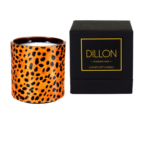 Designer, candle, luxury,  cow, hair, fur  scented, gift, leather, high end, quality, handcrafted- box, cheetah