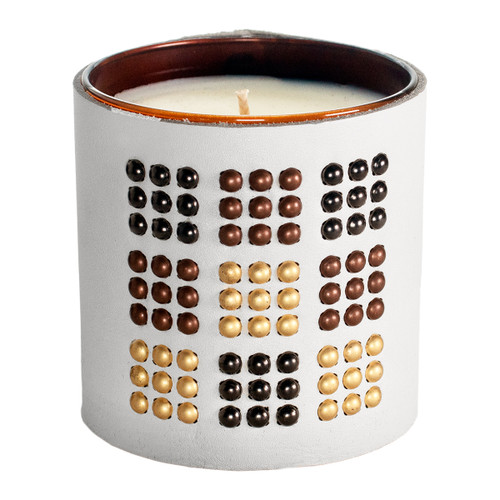 The Matrix - Studded, Leather wrapped, Designer, Luxury  scented gift candle - White