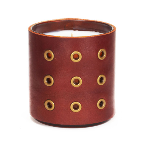 Grommeted - Leather wrapped designer gift candle - Brown
