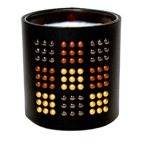The Matrix - Studded,  Leather wrapped, Designer, Luxury  scented gift candle- Black