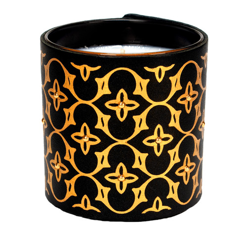 Designer pattern, leather wrpped candle